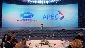 Rysslands president Vladimir Puytin höll ett tal under mötet i Vladivostok