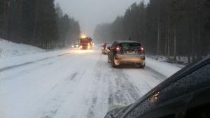 En trafikolycka på riksväg 25.