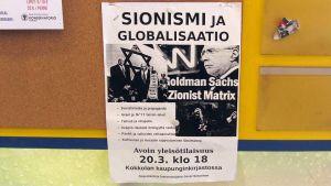 En reklamaffisch för Jussi Siitarinens föreläsning