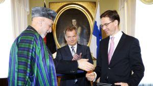 Hamid Karzai träffade Katainen och Niinistö i Helsingfors