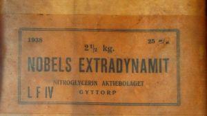 Etikett på ursprungsförpackningen för Alfred Nobels dynamit