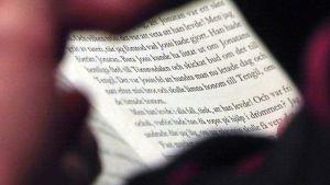 Närbild på texten i boken