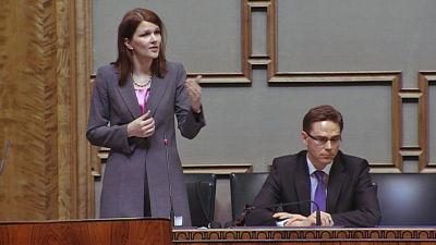 Statsminister Mari Kiviniemi (Saml) och finansminister Jyrki Katainen (Saml)