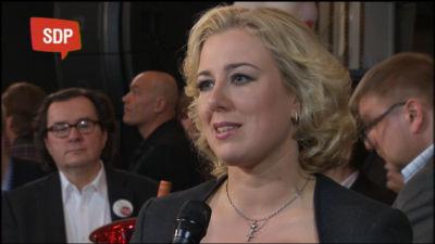 SDP:s partiledare Jutta Urpilainen under valkvällen