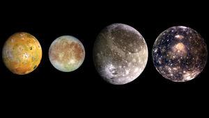 Jupiterin kuut Io, Europa, Ganymedes ja Kallisto.
