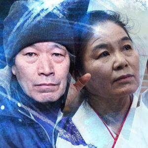 Kuvakollaasi neljästä fukushimalaisesta: hieman iäkkäämmät mies ja nainen, suojavarusteisiin pukeutunut mies sekä silmälasipäinen nuori mies. Kuvassa on Ulkolinjan logo.