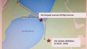 Karta över var våldtäkten på Träskgatan i Vasa inträffade