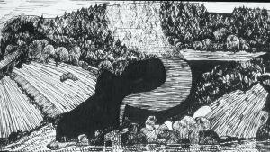 Tussipiirros nimeltä Maisema Ruovedeltä, vuodelta 1974.