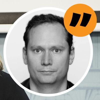 Familje- och omsorgsminister Krista Kiuru med en bild på Svenska Yles Anders Karlsson i förgrunden.