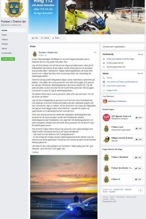 Skärmdump från Polisen i Örebros Facebookinlägg