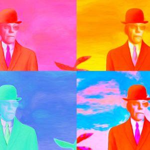 Pop art -tyylisessä teoskuvassa taiteilija Liisa Hietanen on kopionut Harri Hietamäestä otetun vanhan valokuvan neljästi ja kuvittanut erilaisilla kirkkailla väreillä