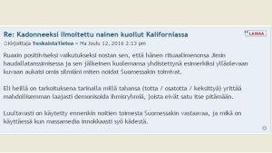 Näthatande postning om Hanna Ruax på forumet Murha.info.