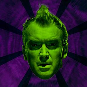 Vihreät miehen kasvot (James Stewart) vasten violettia, abstraktia taustaa. Kuva elokuvasta Vertigo
