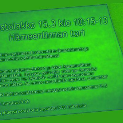 Ilmoitus ilmastolakosta Hämeenlinnassa