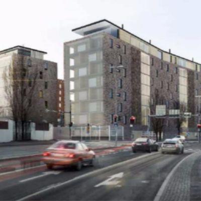 Arkitektens skiss över nya höghus vid Helsingforsgatan.