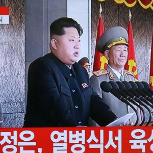 Nordkoreas ledare Kim Jong-un syns här på en bild tagen från en tv-sändning av hans tal på lördagen.