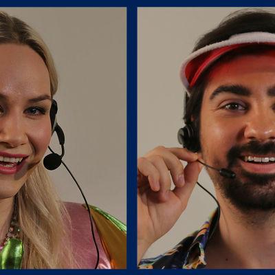 Yle Kioskin Essi Lamppu ja Gogi Mavromichalis kuulokkeet päässä chat-juontajina.