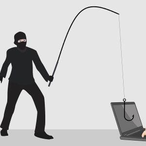 Illustration av nätfiske, där en person bokstavligen använder ett metspö för att komma åt en mans dator.
