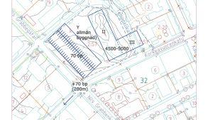 En plankarta över en tomt för allmänna byggnader.
