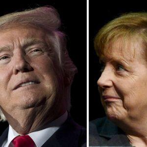Porträtt på USA:s tresident Donald Trump och tyska förbundskanslern Angela Merkel