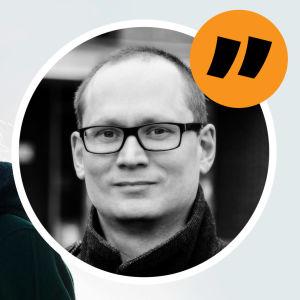 Eeva Kärkkäinen i svart vinterkappa. Ett montage med en citatbild på redaktör Anders AG Karlsson och ett citattecken.