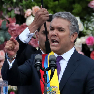 Colombias president Iván Duque håller tal efter att ha tagit över presidentämbet i augusti 2018.