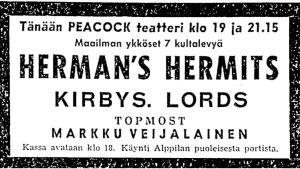 Herman's Hermitsin konsertin ilmoitus Helsingin Sanomissa 1966.