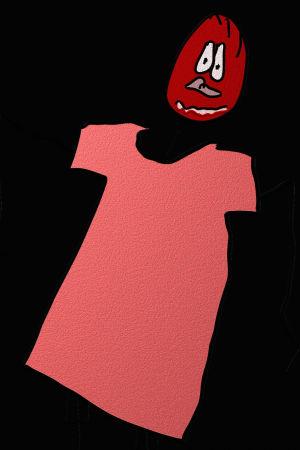 Kajon naivistinen piirros: Mies punastelee pinkissä paidassa, alahuuli vaahtoaa.