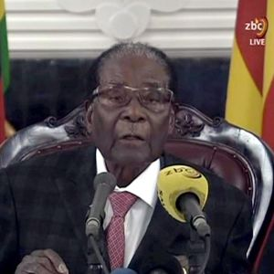 Robert Mugabe håller tal 19.11.2017.