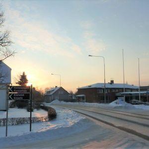malax centrum en vintrig dag med mycket snö.