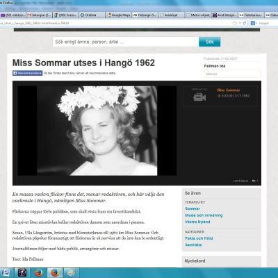 En skärmdump från Yle Arkivet: Miss Sommar i Hangö 1962.
