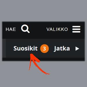 Kuvakaappaus Yle Areenan selainversiosta: Omat suosikit.