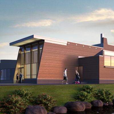 Exteriörbild på Havets hus som ska byggas i Korsholm.
