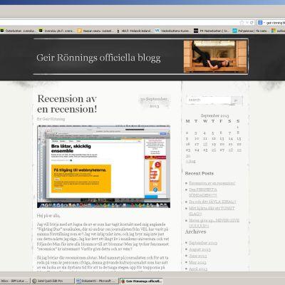 Skärmdump från Geir Rönnings blogg.