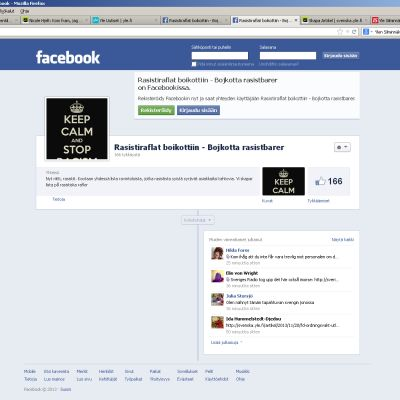 Facebooksidan Rasistiraflat boikottiin - Bojkotta rasistbarer