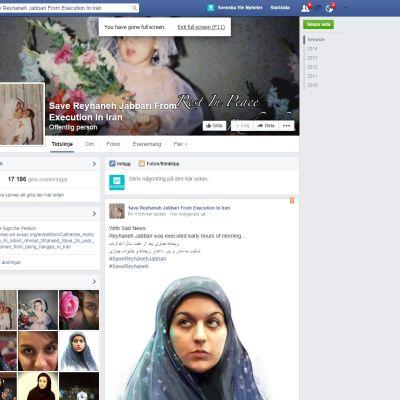 Facebooksidan till stöd för Reyhaneh Jabbari