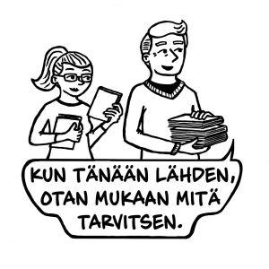 "Serien ""Otan mukaan mitä tarvitsen"" av konstnärparet Katariina och Ilkka Lappi."