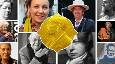 Ett collage med författare som erhållit Nobelpriset i litteratur.