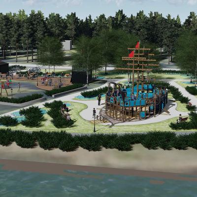 Kuvassa Vanhaan satamaan tuleva leikkipuisto havainnekuvana