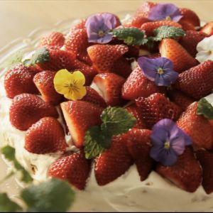 Kuvassa mansikoilla koristeltu täytekakku.