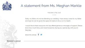En text som publicerats på hovet sida om att Meghan Markles far inte deltar i bröllopet.