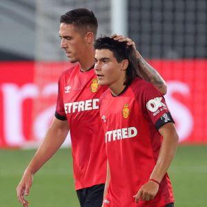 Mallorcas Luka Romero (till höger) fick hoppa in mot Real Madrid.