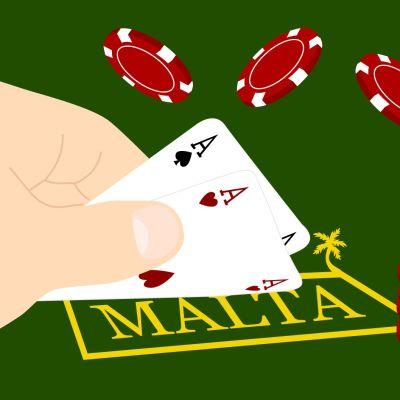 Illustration med spelkort som avslöjar namnet Malta.