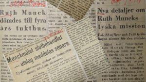 Tidningsurklipp om rättegången mot Ruth Munck.