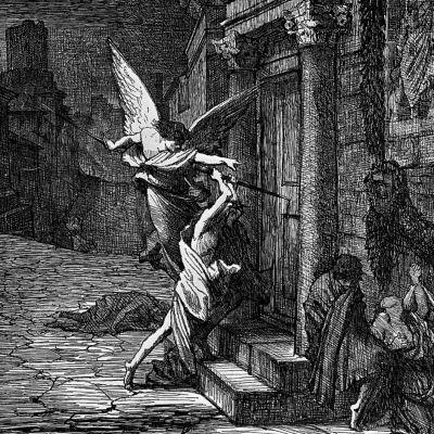 en dödens ängel som tar folk - symboliserar pesten under medeltiden