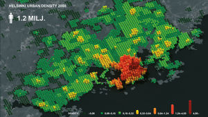 helsingin väentiheyttä kuvaava kartta 2000
