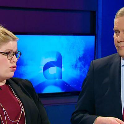 Annika Saarikko ja Antti Rinne A-studion vieraina 28. helmikuuta.