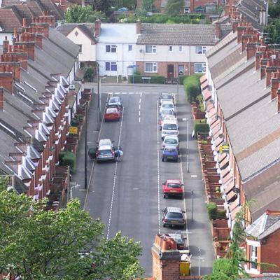 Talorivejä (terraced house)  kuvattuna Loughboroughissa, Englannissa.