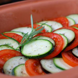Vegetarisk ratatouille.