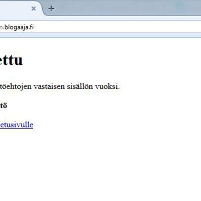 Maria Tolppanens blogg på bloggaaja.fi är stängd. Som orsak anges rasistiskt innehåll.